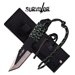 Survivor 7 Inch Fixed Blade Survial Camping Knife with Fire Starter - Digital Camo