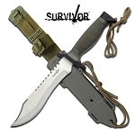 Survivor Brown Straight Fixed Blade Survival Hunting Knife With Sheath