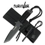 7 Inch Fixed Blade Survival Knife With Fire Starter and Sheath