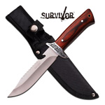 Fixed Blade Wood Handle Rear Serrations Hunting Knife