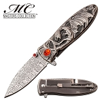 Red Ruby Ancient Silver Enchanted Fantasy Dragon Blade Spring-Assist Folding Knife