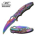 Rainbow Dragon Claw Titanium Blade Tactical Spring Assist Pocket Knife