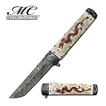White Fantasy Dragon Spring Assisted Folding Pocket Knife
