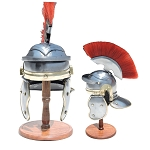 Mini Imperial Itallic Roman Officer Helmet With Display Stand & Detachable Plume