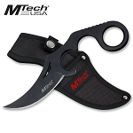5MM Thick Black Full Tang Fixed Blade Knife With Finger Ring Handle