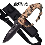 Fixed Blade Knuckle Handle Tactical Knife - Military Camo Handle