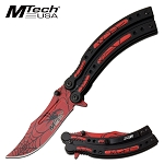 Mtech Pocket Knife Spring Assisted Knife Black Widow Spider Blade