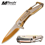 Mtech Gold Silver EDC Tactical Spring-Assist Folding Pocket Knife