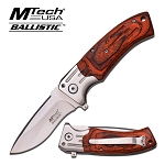 Mtech Red Pakka Wood Handle Spring Assisted Knife EDC