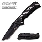 M-Tech Dash Grey Spring Assisted Knife - Tanto Black Serrated Blade