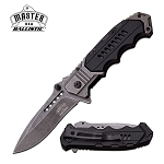 Spring Assisted Folding Pocket Knife Black Everyday Carry Military Tactical