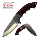 Mtech Heavy Tactical Spring Assist Knife With Brown Pakkawood Handle
