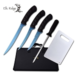 Hunting Knife Set 5-Pc. Blue Titanium Fishing Fillet Blade Kit + Case
