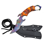 Tactical Orange Camo Karambit Neck Knife Survival Hunting Fixed Blade