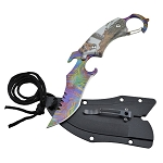 Tactical Snow Camo Karambit Neck Knife Survival Hunting Fixed Blade