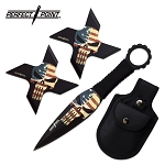 Punisher Throwing Knives and Ninja Star Shuriken USA Set