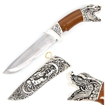 Dragon Head Dagger Fixed Blade Hunting Knife With Scabbard
