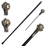Rolling Evil Eye Swagger Cane Sword With Skeletal Hand Handle