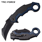 Tac Force Karambit Spring Assist Knife Black Blue Handle