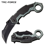 Tac Force Karambit Spring Assist Knife Black Gray Handle