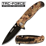 Spring Assisted Folding Pocket Knife - Textured Aluminum Camo Handle