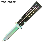 7.5 Inch Rainbow Spring Assisted Folding Knife Faux Butterfly