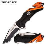 Black/Orange EMT Paramedic Spring-Assist Rescue Folding Knife