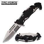 Tac-Force Rescue Style Spring Assisted Pocket Knife Black Polished Steel Handle