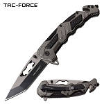 Gray Tactical Rescue Black Tanto Blade Spring-Assist Folding Knife