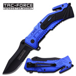 Black Serrated Blue Navy Tactical Rescue EDC Spring Assist Knife