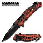 Tactical Rescue Spring Assisted Knife - Red Camo Handle