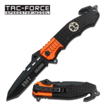 EMT Paramedic Orange Black Tanto Spring Assisted Pocket Knife