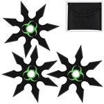 Zombie Genocide 7 Point Throwing Star 3 Piece Set Black