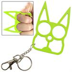 Cat Self Defense Knuckle Key Chain Neon Green