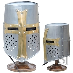 Brass Crusader Great Helmet - 16 Guage