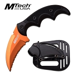 Mtech USA Fixed Blade Karambit Style Tactical Knife - Orange Serrated Blade