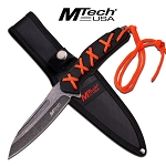 MTech Fixed Blade Knife 8.5 Inches With Orange Wrap Black Handle -