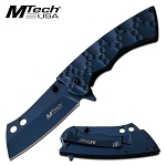 Blue Stainless Steel Cleaver Blade Spring Assisted Folding Pocket Knife