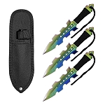 7.5 Inch Jagged Dagger Point 3 PC Throwing Knives Set Titanium