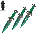 7.5 Inch Deadly Triad of Skulls Dagger Point 3 PC Throwing Knives Set Green