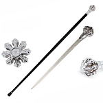 Silver Crown Knob Walking Cane Sword