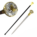 Decorative Crystal Knob Top Walking Cane Sword