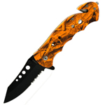 Orange Camo Tactical Outdoor Assisted Opening Survival Folding Pocket Knife