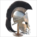 Greek Spartan King Crested Helmet With Stand