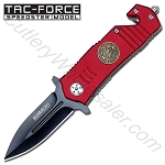 Fire Department Stiletto Style Rescue Folder Spring Assisted Knife