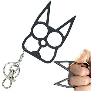 Cat Self Defense Knuckle Key Chain - Black