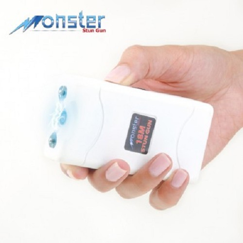 White Monster 18 Million Volt Rechargeable Stun Gun - LED Light