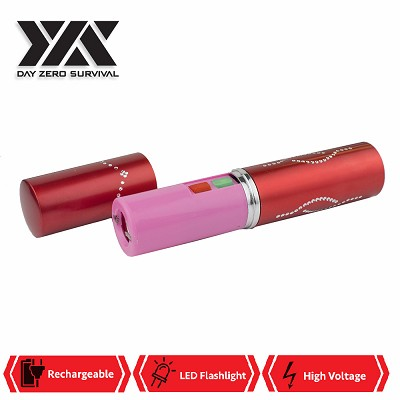 DZS Red Rechargeable Lipstick 2.5 Million Volt Concealed Stun Gun With LED Light