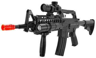 Well MR733 M16 Airsoft Gun Rifle with Red Dot & Flashlight
