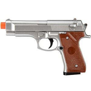 G22MS Metal Spring-Loaded Airsoft Gun - 92F Silver Tactical Pistol